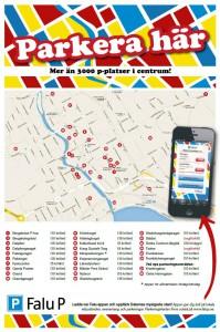 Karta över parkeringar i Falun