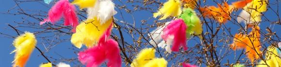 Fjädrar färgstarka färger upphängda i björkris mot en klarblå himmel.